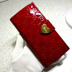 Gucci Red Patent Leather GG Wallet